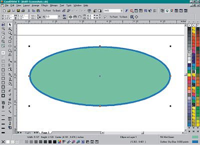 CorelDRAW 9 screen with ellipse selected