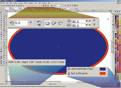 CorelDRAW X3 screen enhancing the Property Bar and Status Bar with ellipse object selected