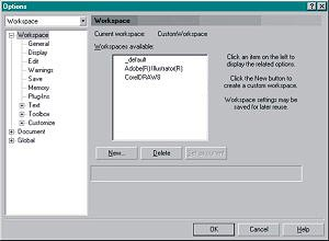 Options box showing Workspace