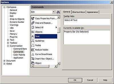 CorelDRAW Select All options in dialog box