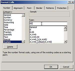Format Cells dialog in Excel