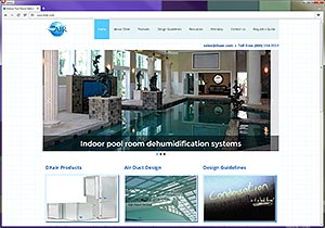 DXair pool room dehumidification web site design